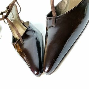 Talbots Brown Patent Leather Slingback Heels